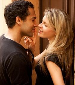 Flirt Couple Kiss